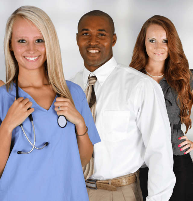Nurse standing with a man and woman discussing medical issues
